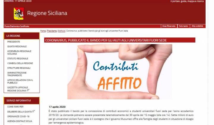 Immagine articolo: Contributi per gli studenti fuori sede siciliani: Bonus da 800 € concesso dalla Regione Sicilia.