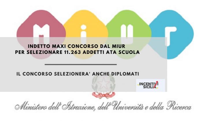 Immagine articolo: Pubblicato dal MIUR il bando per l'assunzione di personale ATA: 11.263 posti dispnibili di cui 952 in Sicilia