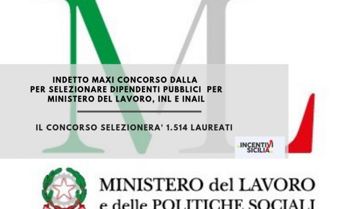 Immagine articolo: Concorso per l'assunzione a tempo indeterminato per 1.514 unità di personale presso Ministero del Lavoro e delle Politiche sociali, dell'INL e dell'INAIL