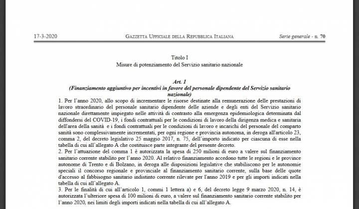 Immagine articolo: Pubblicato il testo definitivo del Decreto Cura Italia Marzo: 30 articoli  dedicati al sostegno di lavoratori dipendenti ,autonomi e imprese