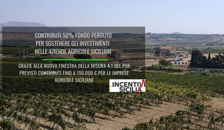 Immagine articolo: Contributi 50% fondo perduto alle aziende agricole siciliane per acquisto macchine agricole, terreni, realizzazione fabbricati e altro grazie alla misura 4.1 PSR Sicilia